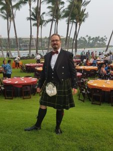 Joachim Breternitz in a Scotsman dress during a conference abroad.