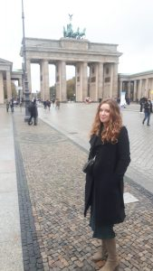 Natalia, during a walk at the Brandenburger Tor, Berlin.